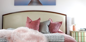 pictured velvet duvet cover on bed with fur throw