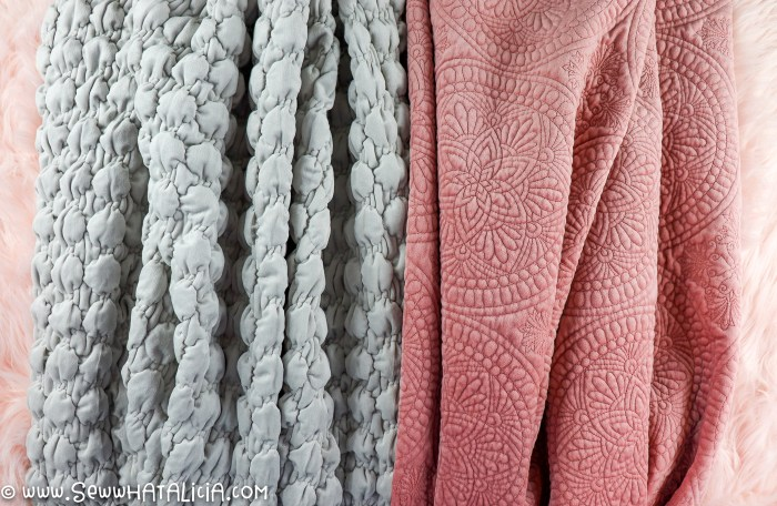 pictured two velvet fabrics one gray and one pink