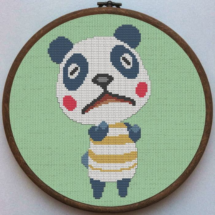 pictured chester from animal crossing cross stitch pattern