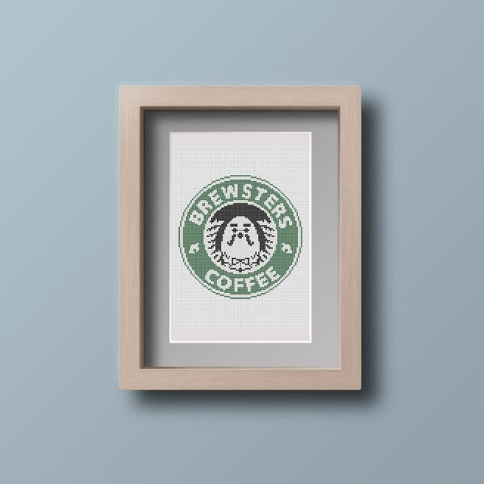 pictured framed cross stitch of brewsters coffee logo