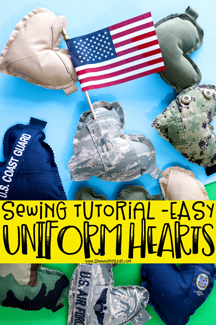 pictured: multiple hearts made from military uniforms on a green and blue background with wording sewing tutorial - easy uniform hearts