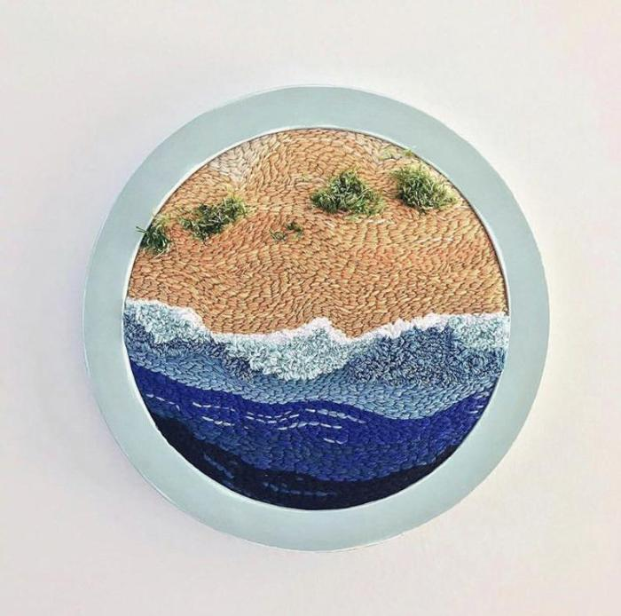 sandy beach with waves and bushes punch embroidery