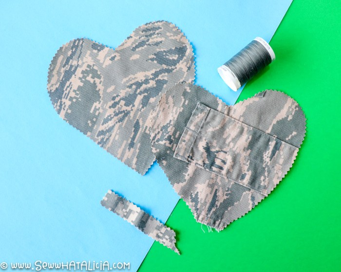 pictured two hearts cut from military uniforms and coordinating thread