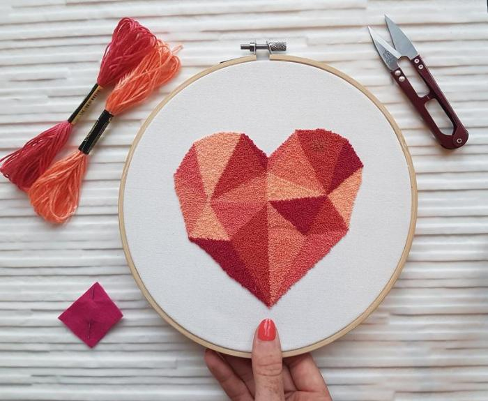 geometric heart punch embroidery