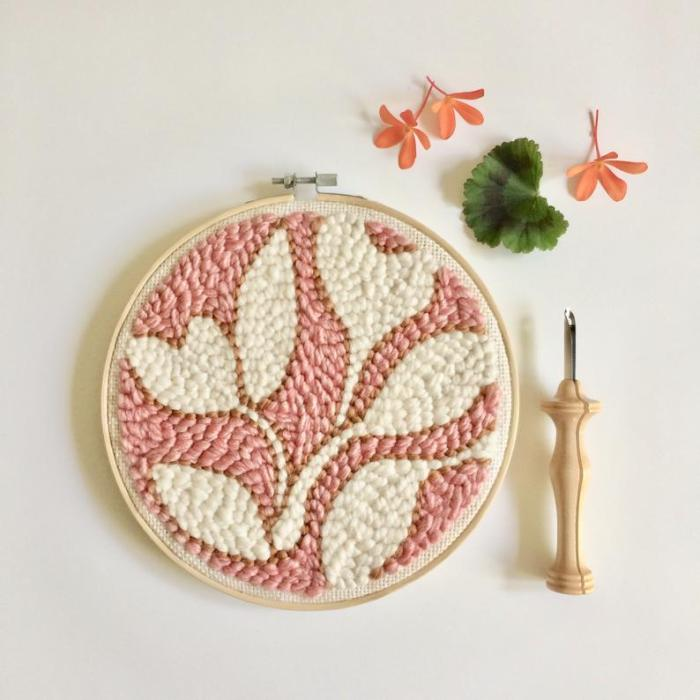 pink background with white floral modern punch embroidery pattern