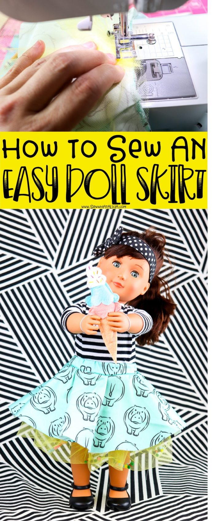 pictured doll holding ice cream cone wearing circle skirt and hands sewing skirt