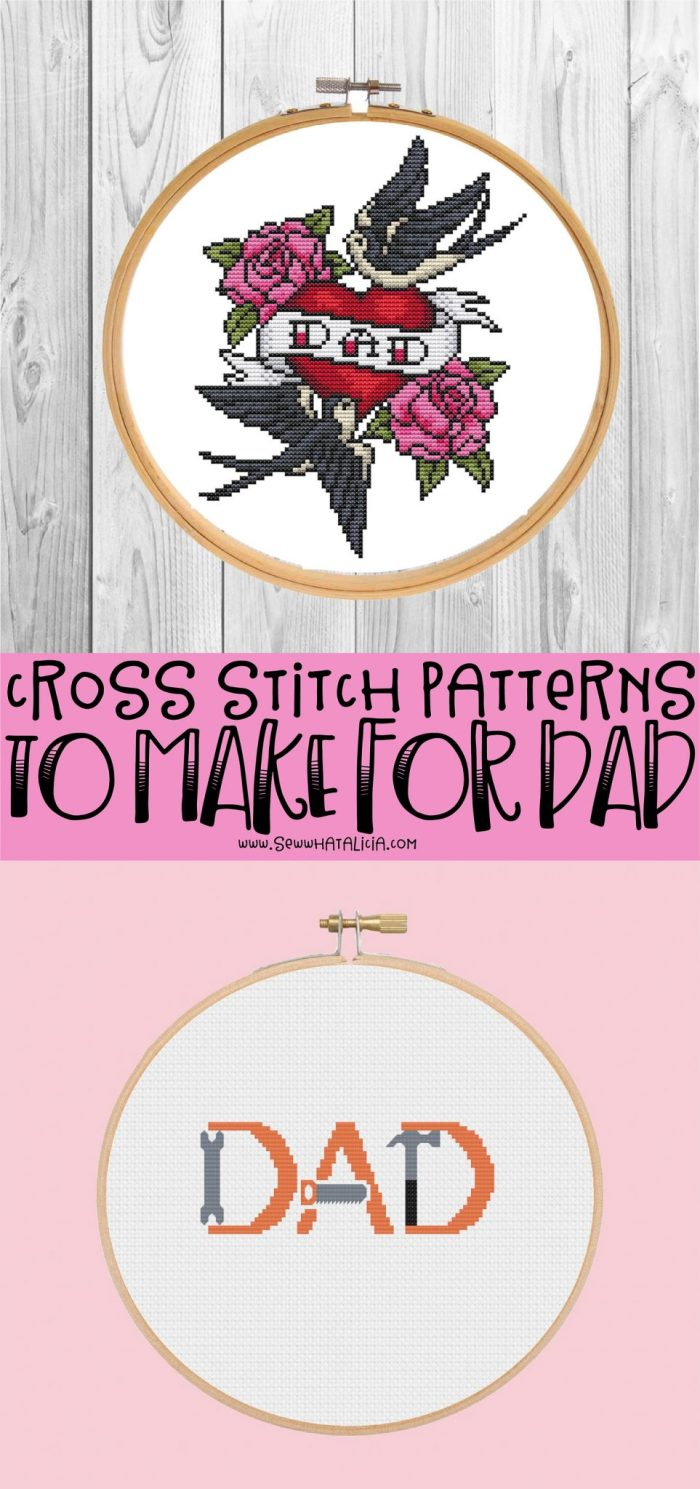 pictured two patterns and words cross stitch patterns to make for dad