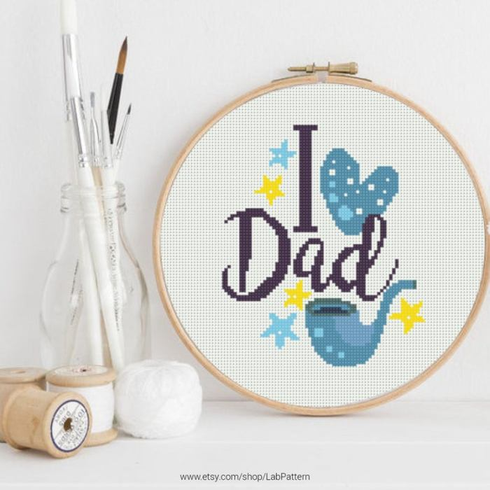 pictured i heart dad with a pipe cross stitch pattern