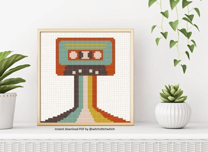 pictured retro cassette tape cross stitch pattern in frame