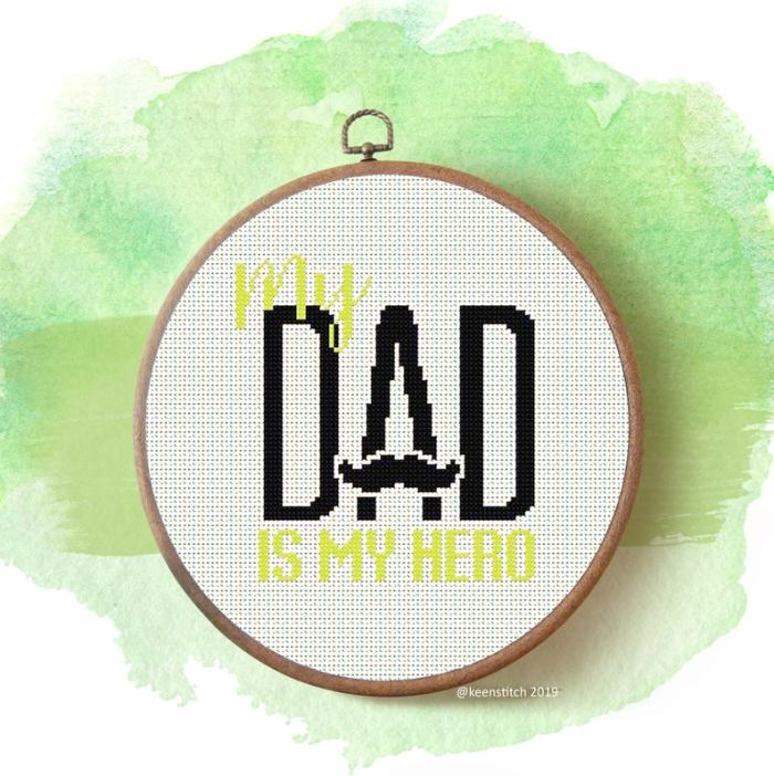 pictured dad is my hero cross stitch on green watercolor background