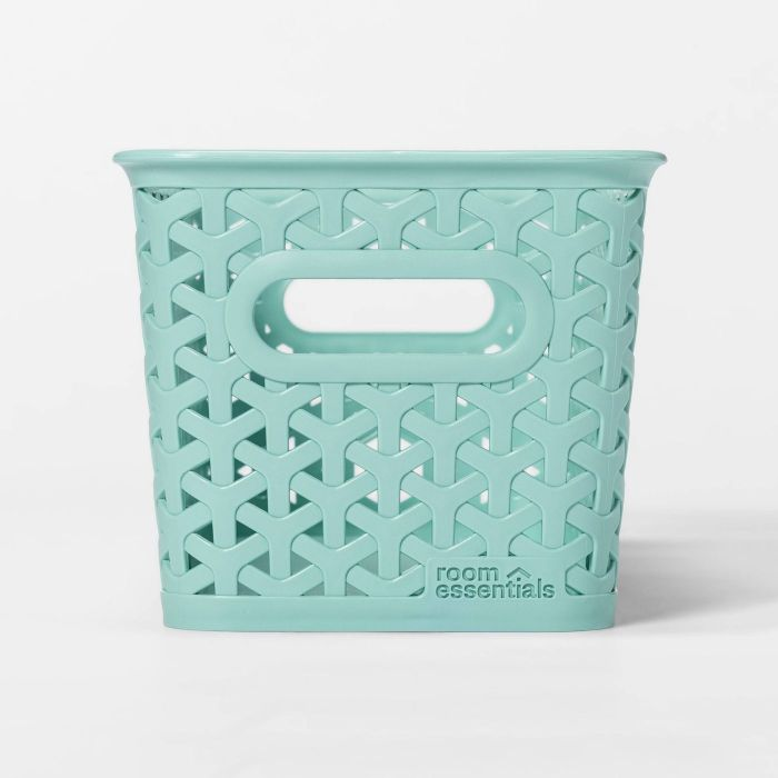 woven seafoam green storage basket