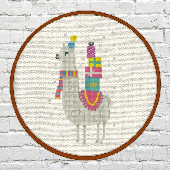 llama in winter gear with presents in the back