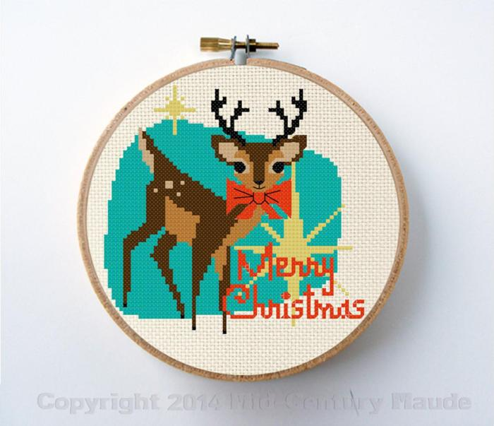reindeer with mid century modern colors and background