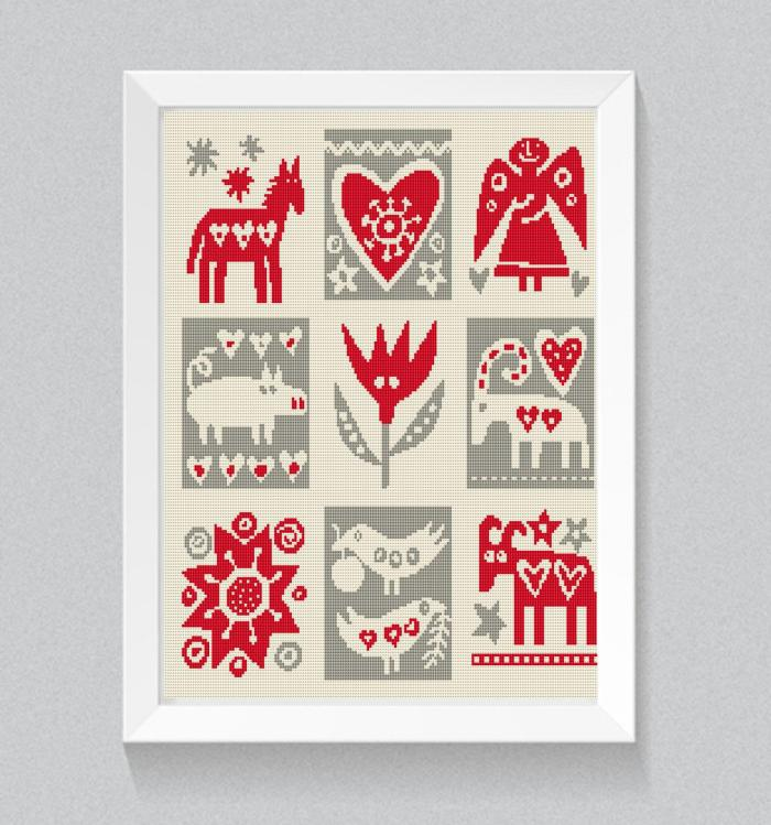 modern folk scandinavian cross stitch pattern