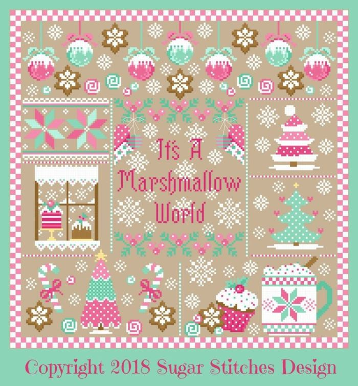 christmas cross stitch sampler with lots of sweet treats