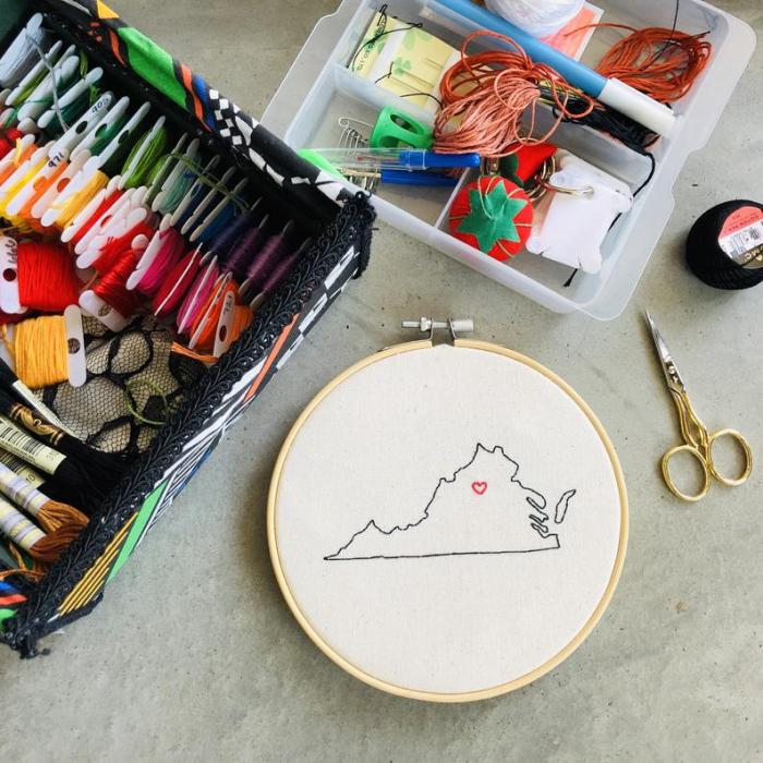 Embroidered State Hoop with embroidery floss in box