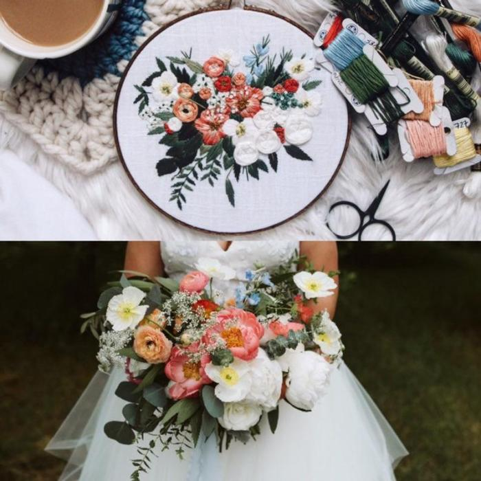 woman holding wedding bouquet and embroidered bouquet above
