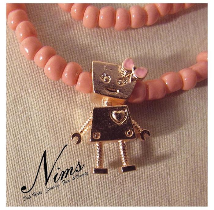Robot charm necklace & bracelet jewelry