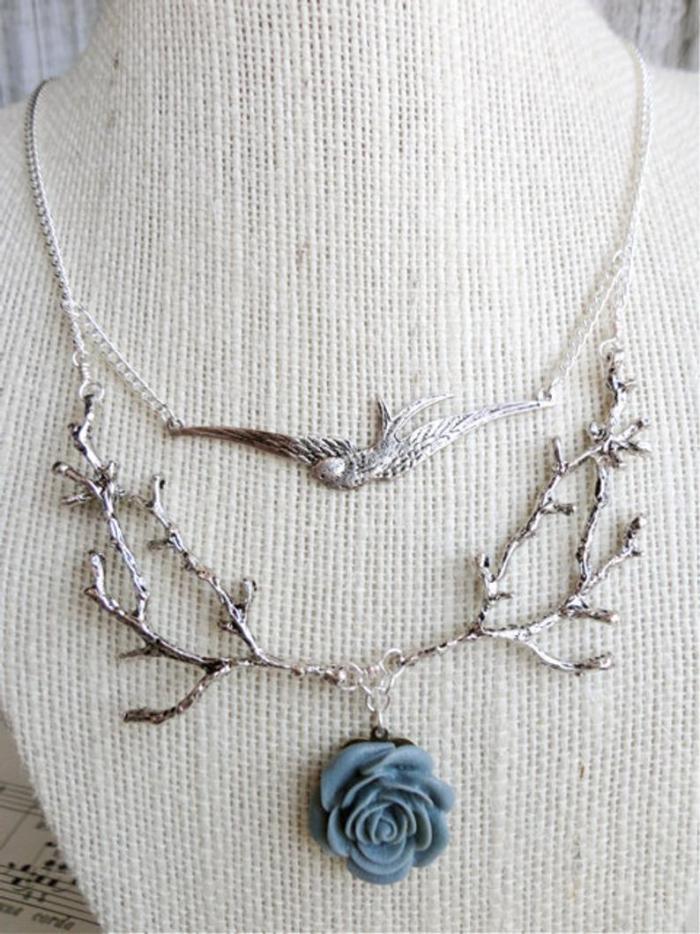 Branch/twig & sparrow woodland bib necklace