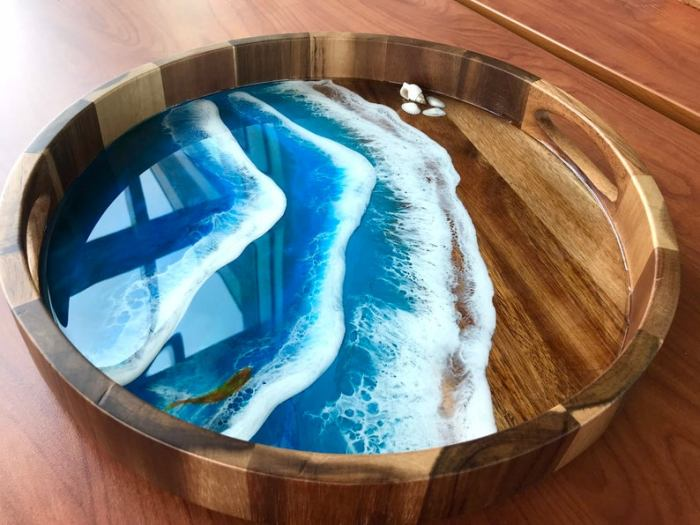 custom ocean resin serving tray