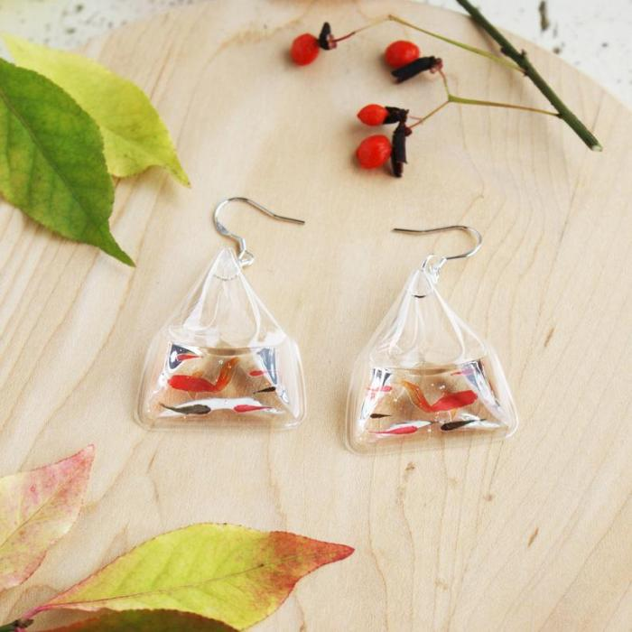 Japanese resin fish pond earrings