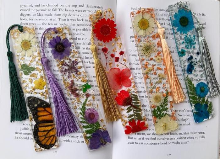floral resin bookmark