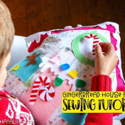Interactive Gingerbread House Pillow