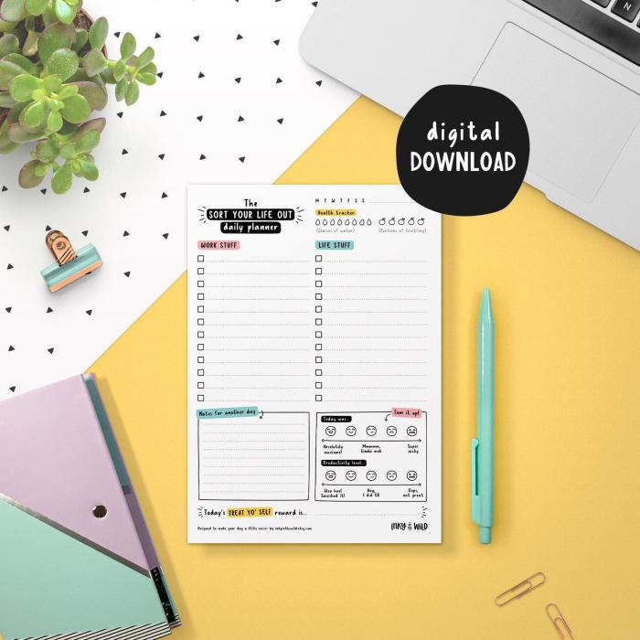 paper with wording sort your life out on colorful background