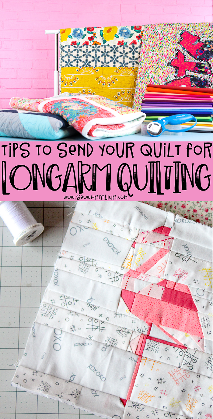 quilts text overlay that reads tips to send your quilt for longarmquilting