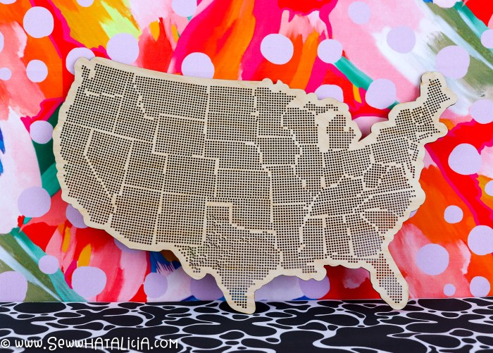 wooden state embroidery blank with colorful background