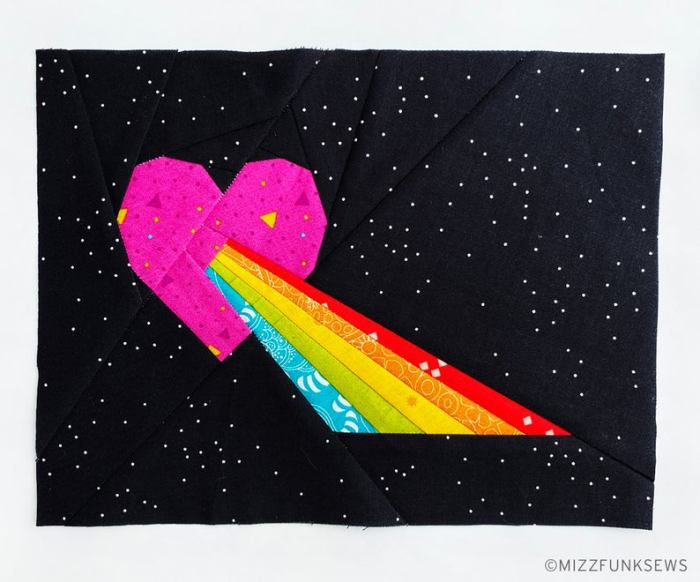 heart with rainbow coming out paper pieced block