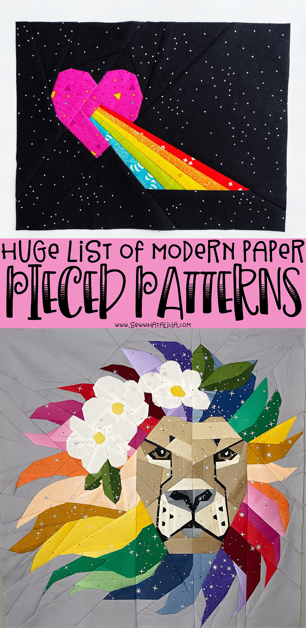 paper pieced quilt blocks with text overlay that reads modern paper piecing patterns