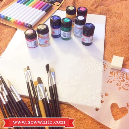 Sew White Christmas tile painting 2