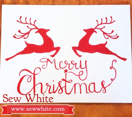 Merry Christmas painted Tile in red