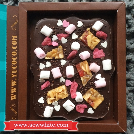 Personalised Chocolate Bar with mini marshmallows, florentines, crystalised rose and heart sprinkles