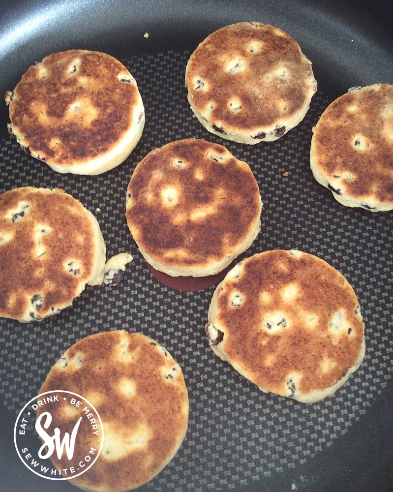 Welsh cakes in a heavy based frying pan.