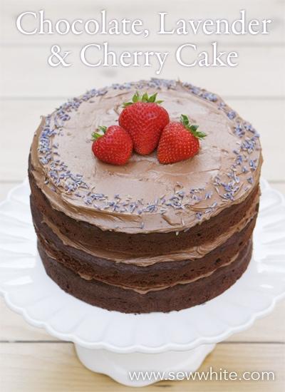 Sew White chocolate lavender and cherry cake recipe 1