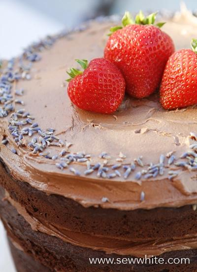 Sew White chocolate lavender and cherry cake recipe 3
