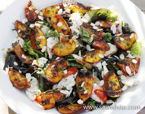 Sew White grilled nectarine chicken and parma ham summer salad 5