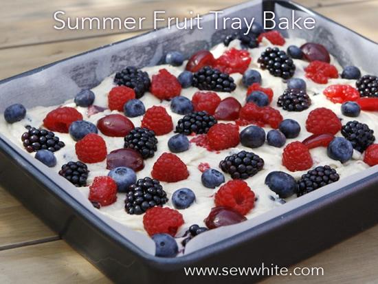 Sew White summer fruit cake tray bake 4