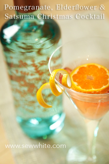 Sew White Pomegranate elderflower and satsuma christmas cocktail 2