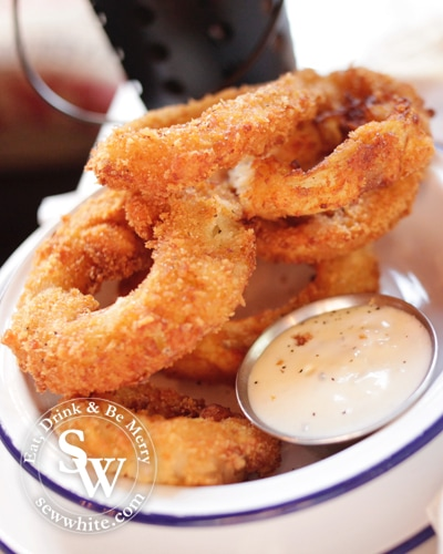 giant onion rings with spicy mayo