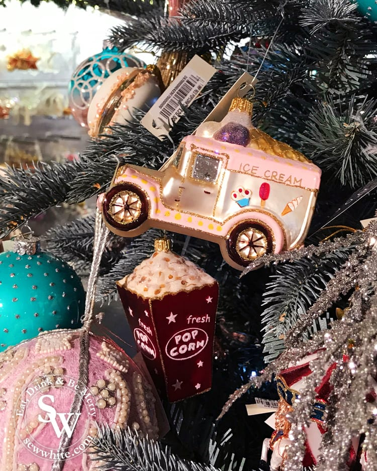 retro ice cream van pink decoration with glitter and hand painted
