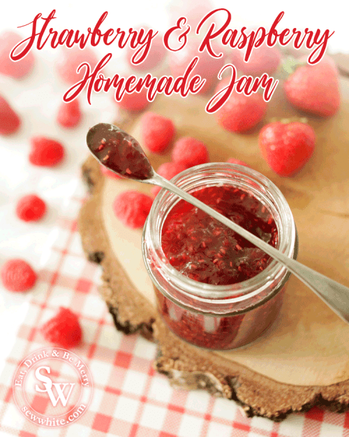 over head view of a spoon of Strawberry and Raspberry Jam balanced on the glass jar.