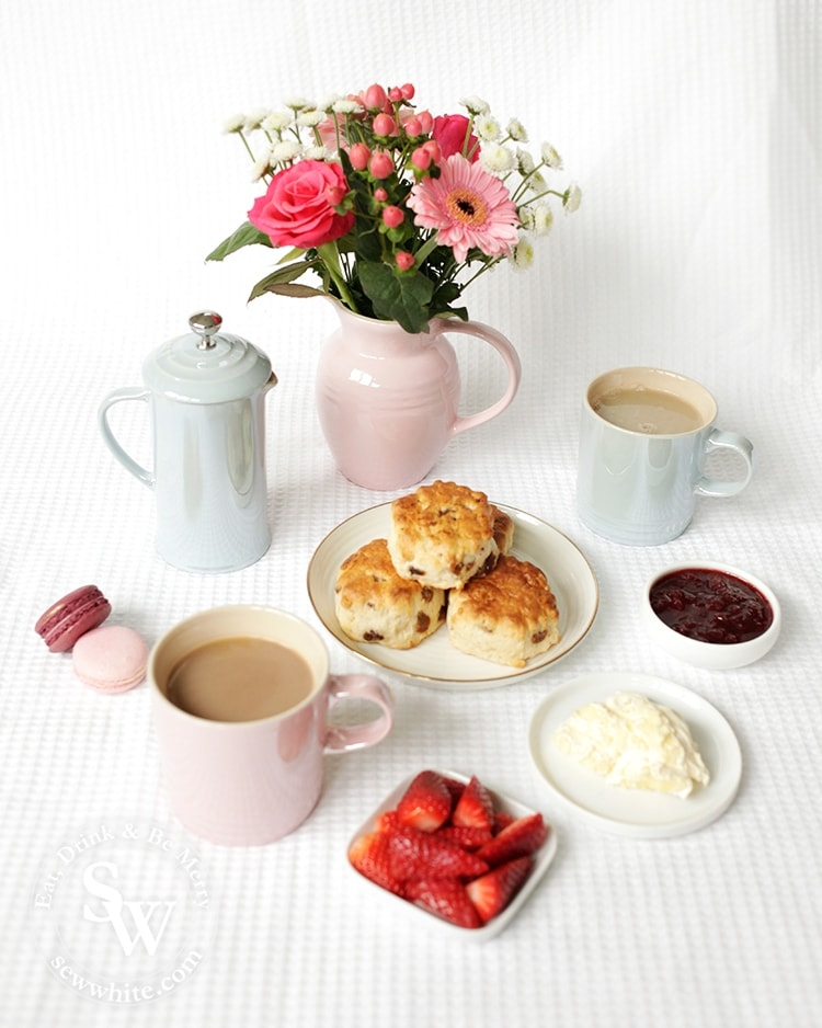 Freshly made for Afternoon Tea Fruit Scones with sultanas with the glace collection from Le Creuset.