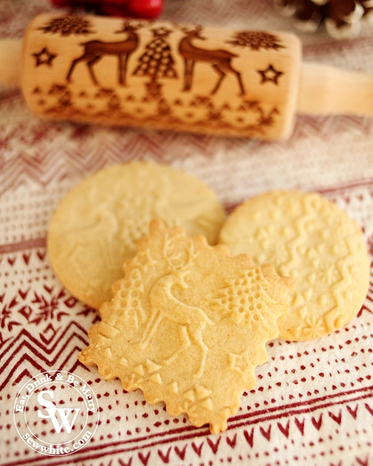 Golden biscuits made with the Embossed Rolling Pin Biscuit Recipe