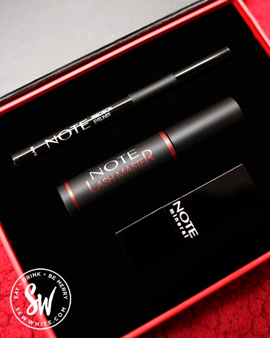 The note cosmetics must have box with eye liner, mascara and rose red lipstick perfect for Valentine's Day