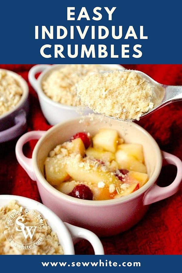 Easy individual crumbles for the apple and cranberry crumble recipe