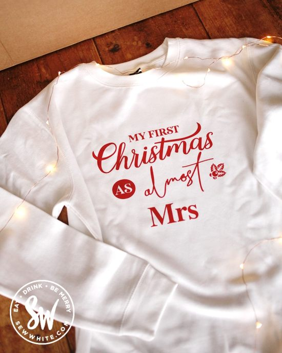 Pink Positive My first Christmas as almost a Mrs sweatshirt for the be merry gift guide