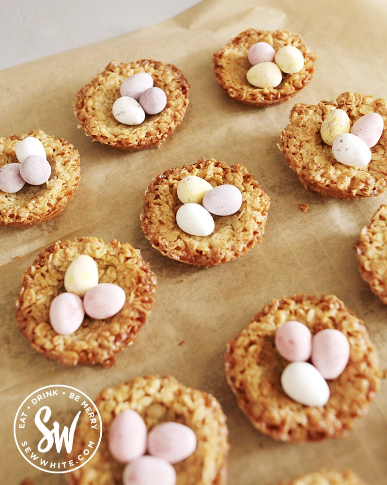 Easter flapjack nests filled with mini eggs for Easter picnics